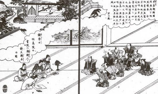 朝鮮・日本筆談=名古屋で朝鮮通信使と日本の専門家が筆談する姿を描いた絵。この絵は名古屋の名所を紹介するために18世紀に日本で出版された書籍に載せられた。