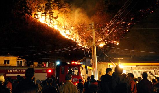 9日午後、浦項市竜興洞の住宅街で裏山が火に包まれている。風速10メートルの強風に乗り新興洞、鶴山洞、ウヒョン洞などに急速に広がった火は17時間後の10日午前になり鎮火した。今回の山火事で1人が死亡し14人が負傷した。