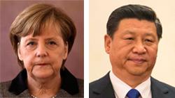 メルケル独首相(左)と習近平中国主席