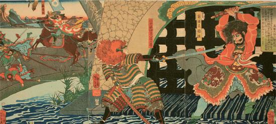 壬辰倭乱当時の朝鮮の大将(右)と日本の大将が刃で争う絵。19世紀に日本の画家月岡芳年が描いた。ソウル大学のキム・シドク教授は、「東大門と咸興で起きた戦闘を混合して描いた」と話した。