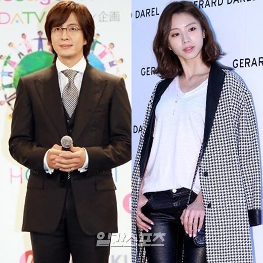 俳優のペ・ヨンジュン(左)と女優のパク・スジン