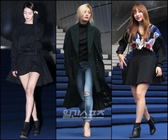 19日午後、ソウル東大門デザインプラザで開かれた「2016S/Sヘラソウルファッションウィーク」に登場した(左から)HELLOVENUSのナラ、AFTERSCHOOLのナナ、EXIDのハニ。