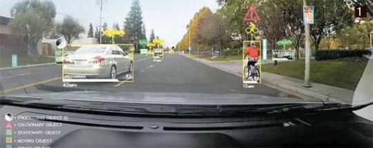 自律走行車に使用されるNVIDIAの「ドライブPX 2」は、事物の形・特徴を学習した人工知能が車の種類、人、信号灯、表示板などを区分する。(中央フォト)