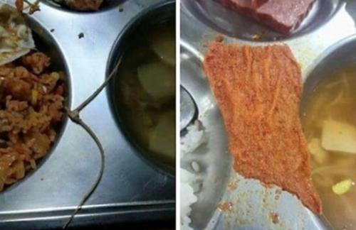 今月2日、大田D高等学校の生徒が給食に混入していた異質物を写真に撮ってインターネットに公開した。プラスチックの結束用バンド(左側)と赤い布切れが見える。(写真=インターネットキャプチャー)