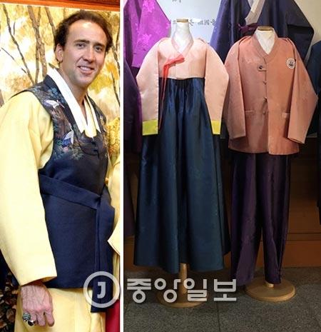 キム・イェジンさんが作った韓服を着た映画俳優ニコラス・ケイジさん。右側は民族史観高等学校の新しい制服のサンプル。