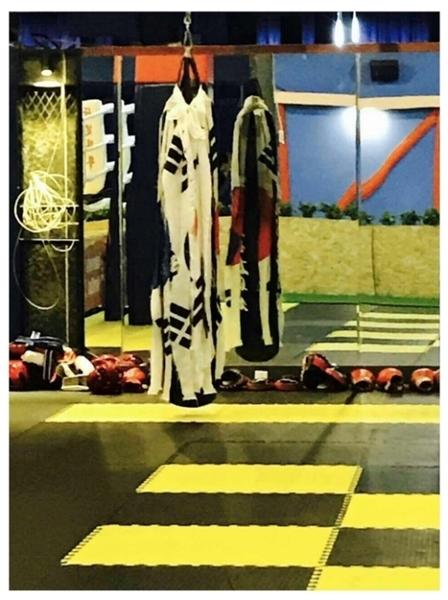 ずたずたに引き裂かれた太極旗(韓国の国旗)がジム内にあるサンドバッグにぶらさがっている。(写真=オンラインコミュニティ)