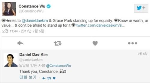 ダニエル・デイ・キムの降板について、台湾系米国女優のコンスタンス・ウーがツイッターに残した応援メッセージ。
