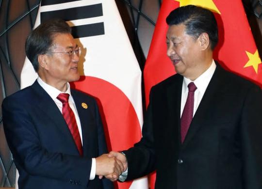 APEC首脳会議出席中の文在寅大統領と習近平中国国家主席が11日午後にベトナム・ダナンで開かれた首脳会談で微笑みながら握手を交わしている。(写真=青瓦台写真記者団)