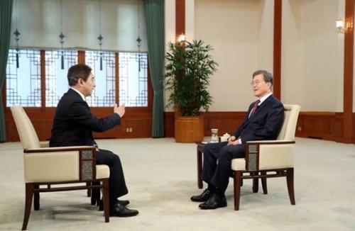 文在寅大統領が8日、青瓦台忠武室で中国CC-TVとインタビューをしている。(写真=青瓦台)