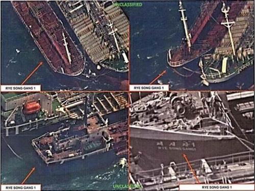昨年10月19日、北朝鮮金星貿易所属の大型船舶「礼成江1号」が国連安全保障理事会の北朝鮮に対する制裁決議2375号を避けるために精油製品と推定される積み荷を移し替えている。(写真=米財務省ホームページ)