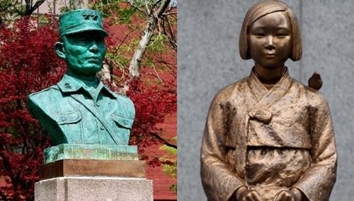 朴正熙元大統領の胸像(左)、平和の少女像(右)