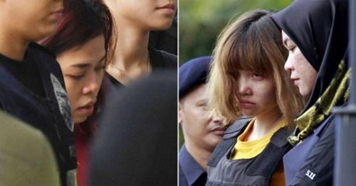金正男氏殺害の容疑がもたれているシティ・アイシャ被告(左)とドアン・ティ・フォン被告(写真=中央フォト)
