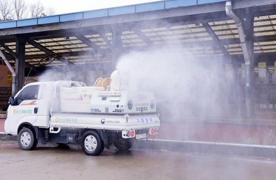旧正月連休を控えて口蹄疫が発生した中、1日、忠清南道論山(ノンサン)の韓牛市場で防疫作業が行われている。論山韓牛市場はこの日閉鎖された。