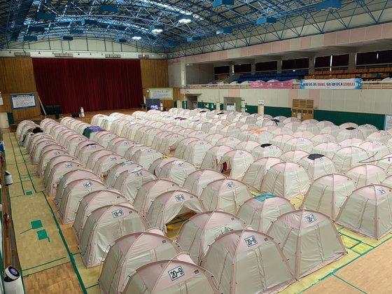 1月31日に訪れた慶尚北道浦項市の興海室内体育館。