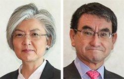 康京和外交部長官(左)と河野太郎外相(右)