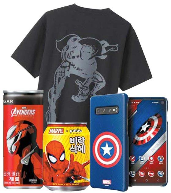韓国では流通・通信・ファッション・飲料など全業種でマーベルキャラクターを使ったマーケティングが盛り上がりを見せている。(写真=中央フォト)