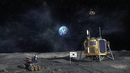 韓国の月探査船が月面に着陸した姿を想像したコンピューターグラフィックイメージ。 (写真航空宇宙研究院)