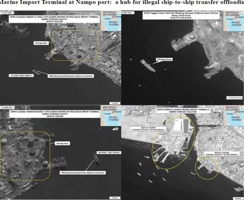 瀬取りによる石油製品輸入の拠点となっている北朝鮮南浦港(写真=安保理対北朝鮮制裁委報告書のキャプチャー)