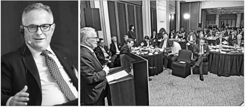 韓国経済テレビが25日、ソウルの新羅ホテルで創社20周年記念特別招請講演を開いた。ワインシュタイン米ハドソン研究所長(左)が「米中貿易葛藤と2020年米大統領選挙の展望、韓国企業の対応策」をテーマに講演している。