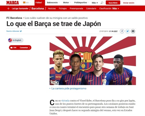 28日、スペインメディアのマルカがバルセロナの日本遠征親善試合を伝え、旭日旗を背景に使用した。[写真 徐ギョン徳教授]