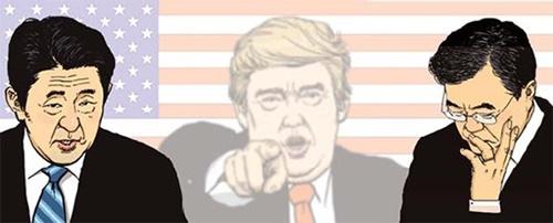 安倍晋三首相、トランプ大統領、文在寅大統領