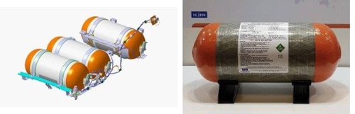 現代車の燃料電池車「ネクソ」に搭載される水素タンク。韓国企業のイルジン複合素材が生産するが、材料の炭素繊維は東レから供給されている。[写真 イルジン複合素材、現代自動車]