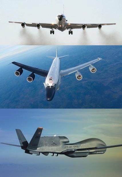 (上から)米空軍の特殊偵察機WC-135Wスニファー[写真 米空軍]、米空軍の特殊偵察機RC-135Sコブラボール[写真 MDAA]、高高度無人偵察機RQ-4Bグローバルホーク[写真 ノースロップ・グラマン]