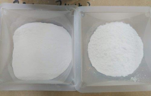 プラズマ技術を適用して粒子がそろった酸化イットリウム(左)と一般製品。[国家核融合研究所提供]