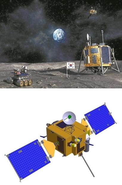 月探査想像図[韓国航空宇宙研究院](上)と試験用月軌道船(下)