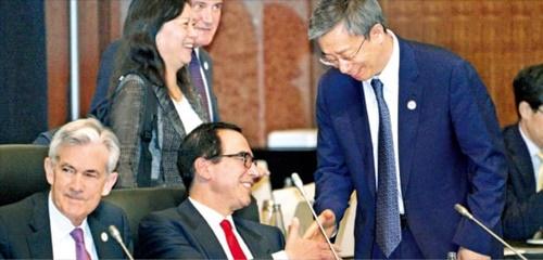 主要国の中央銀行が競争的に利下げおよび量的緩和に動き出し、通貨安戦争が懸念されている。パウエル米FRB議長(前列左から)、ムニューシン米財務長官、イガン中国人民銀行総裁が6月、大阪で開催されたG20会議であいさつしている。 韓経DB