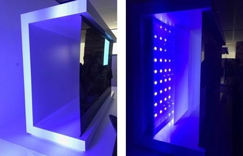 バックライトが必要ないためパネルだけあれば画面に映像を映し出すことができるLGのOLEDテレビ(左)、バックライトが光を出すとLCDパネルがこれを受け入れて画面を送りだすサムスンのQLEDテレビ。キム・ヨンミン記者