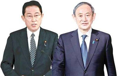 岸田文雄自民党政調会長、菅義偉官房長官