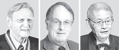 ノーベル化学賞受賞者のグッドイナフ氏、ウィッティンガム氏、吉野氏(左から)