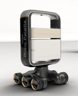 トヨタが公開した未来モビリティー。小型自動運転ロボット「Micro Palette」。[写真トヨタ]