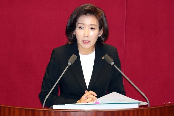 韓国野党「自由韓国党」の羅卿ウォン院内代表が29日、国会で交渉団体代表演説を行っている。ビョン・ソング記者