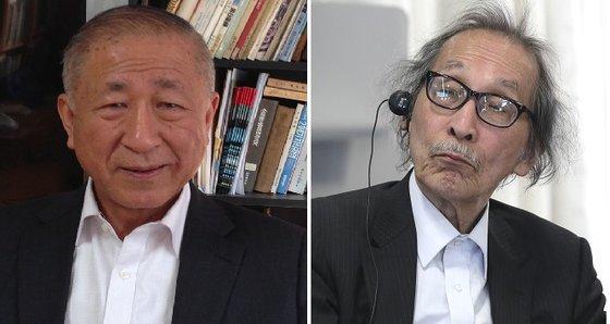 東北アジア平和センターのキム・ヨンホ理事長(左)と和田春樹・東京大学名誉教授[中央フォト]