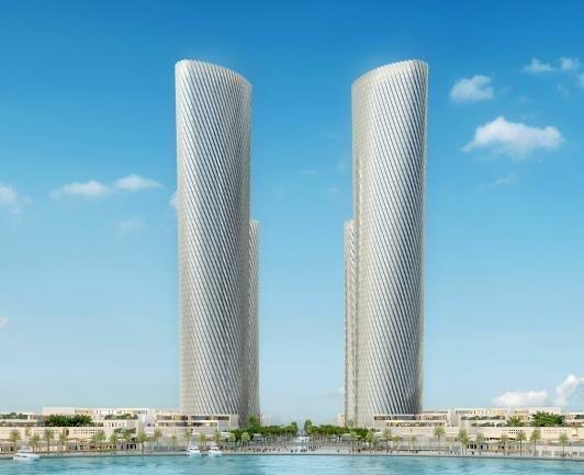 現代建設が受注したカタール・ルサイル・プラザタワーの鳥瞰図