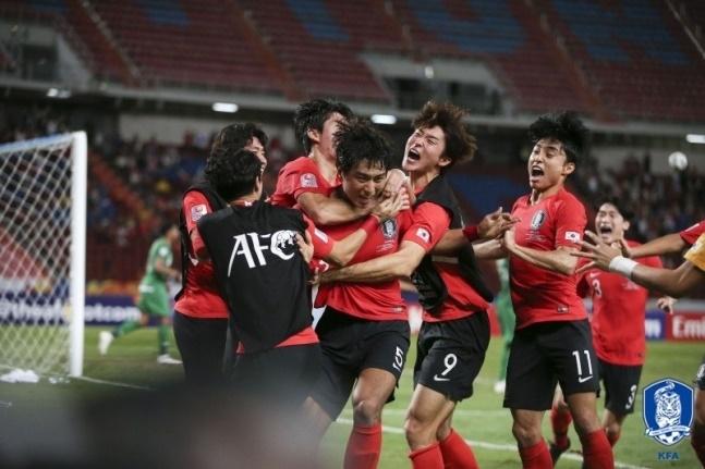 史上初めてAFC U-23大会で優勝した韓国代表チーム[写真 大韓サッカー連盟]
