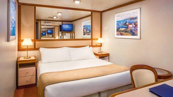 ダイヤモンド・プリンセス号で最も安い内側船室。部屋の広さは14平方メートルだ。[写真 プリンセス・クルーズ]