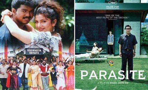 インド映画『MinsaraKanna』と韓国映画『パラサイト』のポスター