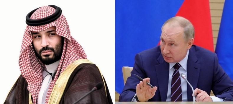 サウジアラビアのムハンマド・ビン・サルマン皇太子(左)、ロシアのプーチン大統領