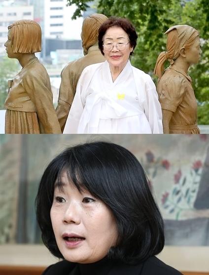 旧日本軍慰安婦被害者の李容洙(イ・ヨンス)さん(上)、尹美香(ユン・ミヒャン)正義記憶連帯理事長(下)