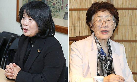 尹美香氏(左)当と李容洙さん(右)。[中央フォト]