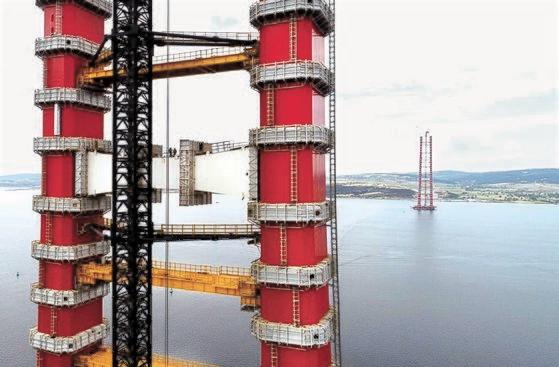 大林産業とSK建設が建設したチャナッカレ大橋の主塔。[写真 大林産業]