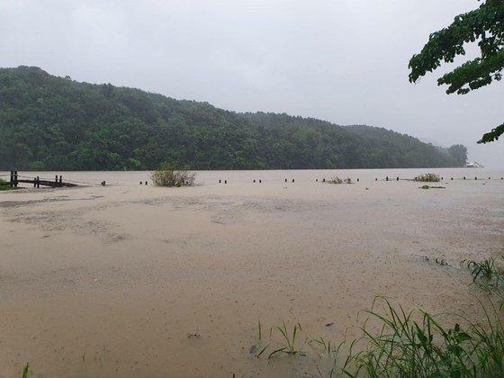 北漢江の水位が高まりながら南怡島が浸水被害を受けた。川辺散歩道が完全に浸水した様子。[写真 南怡島]