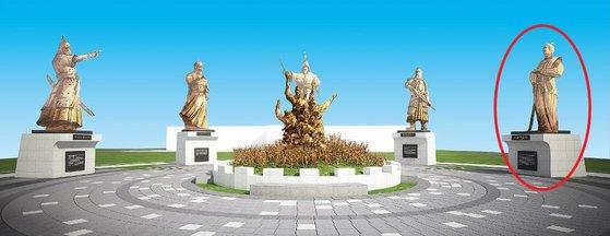 全羅南道順天市が推進している「韓中日平和庭園」鳥瞰図に登場した壬辰倭乱時の日本武将、小西行長の銅像(赤丸の部分)。[写真 順天市]