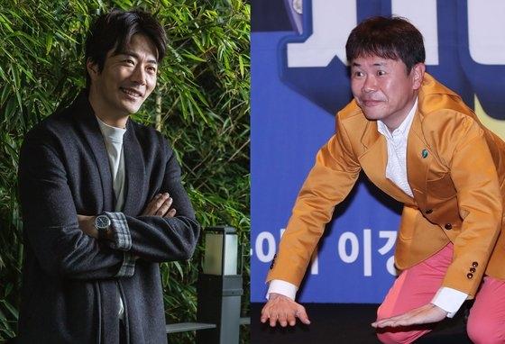 俳優クォン・サンウ(左)とお笑い芸人カン・ソンボム。[写真 ス・カンパニー、韓国ニッカンスポーツ]