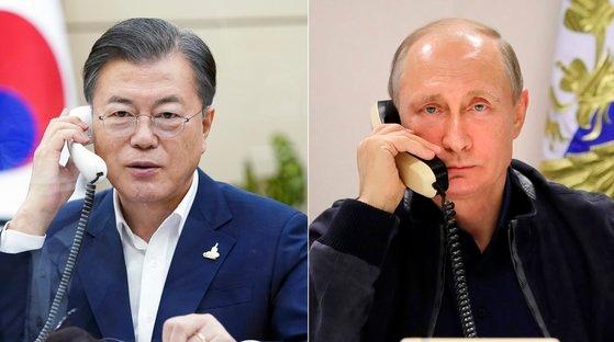 文在寅大統領が28日午後、青瓦台でウラジミール・プーチン露大統領と電話会談を行っている。[写真 青瓦台提供]