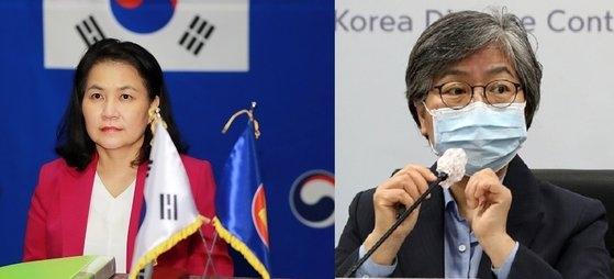 世界貿易機関(WTO)事務局長選の最終第3ラウンドに進出した韓国産業通商資源部の兪明希(ユ・ミョンヒ)通商交渉本部長(左)。右は「コロナ戦士」と呼ばれてK-防疫を導いた疾病管理庁の鄭銀敬(チョン・ウンギョン)庁長。鄭氏は来年の世界保健機関(WHO)事務局長選の候補にも挙げられている。