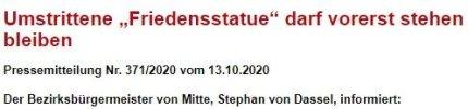 13日(現地時間)、少女像を当面そのままにして置くとベルリン市が発表した報道資料。[写真 ドイツ・ベルリン市]